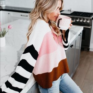 sold out striped color block knit sweater - NEW